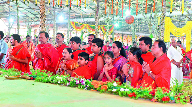 Telangan Chief Minister and his family members including grand children at the yagam on Saturday. (Photo: DC)
