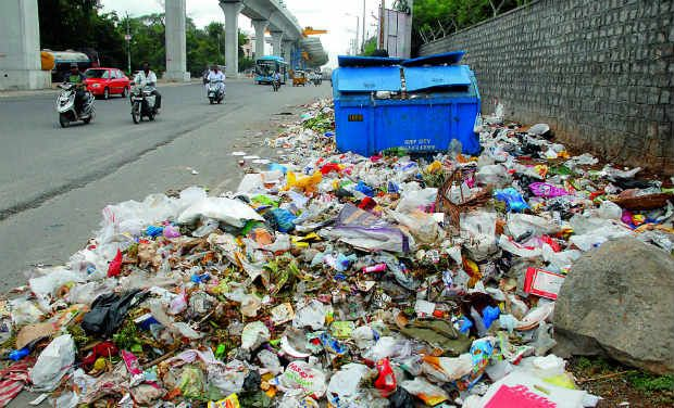 After five days garbage lifted from the parts of south bengaluru - Rd rubbish bin ...