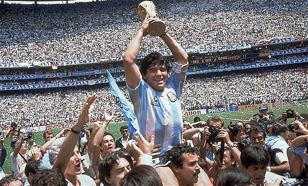 Pradip Jain also possesses a stamp of Maradona lifting the World Cup trophy following Argentina's triumph. Photo: AP/ File