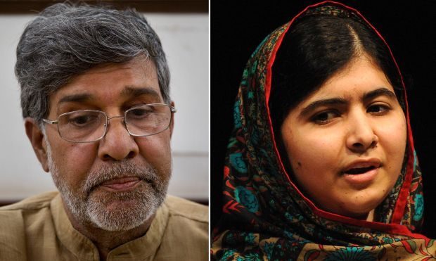 Nobel laureates Kailash Satyarthi  and Malala Yousafzai . (Photo: AP/DC)