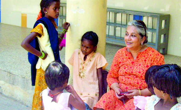 Elaine Ghosh with some of the children at Parinaam.