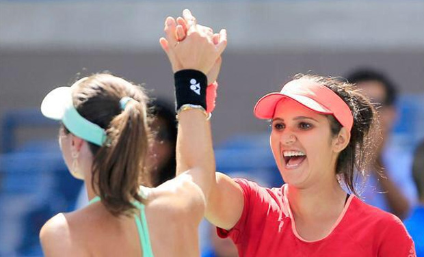 Sania Mirza and Martina Hingis continued their great run of form as they clinched the Wuhan Open title, their seventh such title win in this season. (Photo: Twitter)