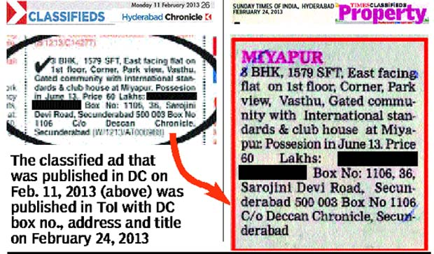 The classified ad that was published in DC on Feb. 11, 2013 (above) was published in ToI with DC box no., address and title on February 24, 2013