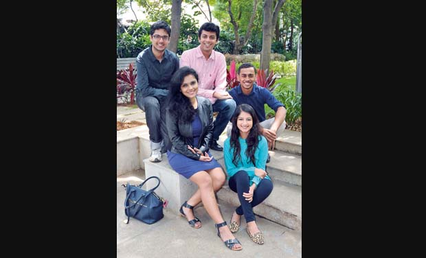Clockwise: Palkush, Abhilash, Nikita and Aditi and Umang