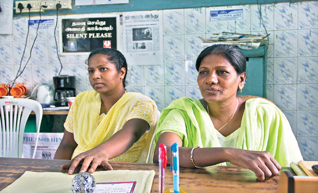 Praveena Solomon and Esther Shanthi at their office in Velankadu burial ground in Anna Nagar. (Photo:DC/ File)