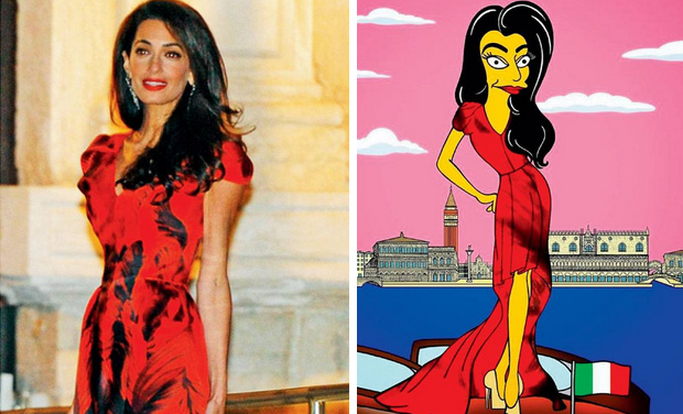 George Clooney and Amal Alamuddin get '-The Simpsons'- makeover