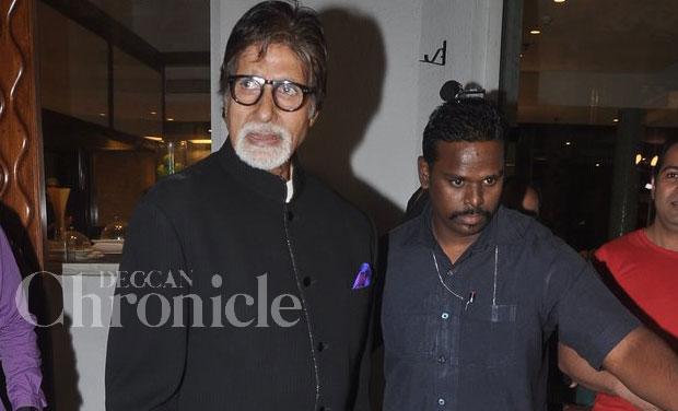 Amitabh Bachchan was seen last evening at Bollywood actor Kamaal Rashid Khan's (KRK) new website launch in Mumbai. Photo: Viral Bhayani