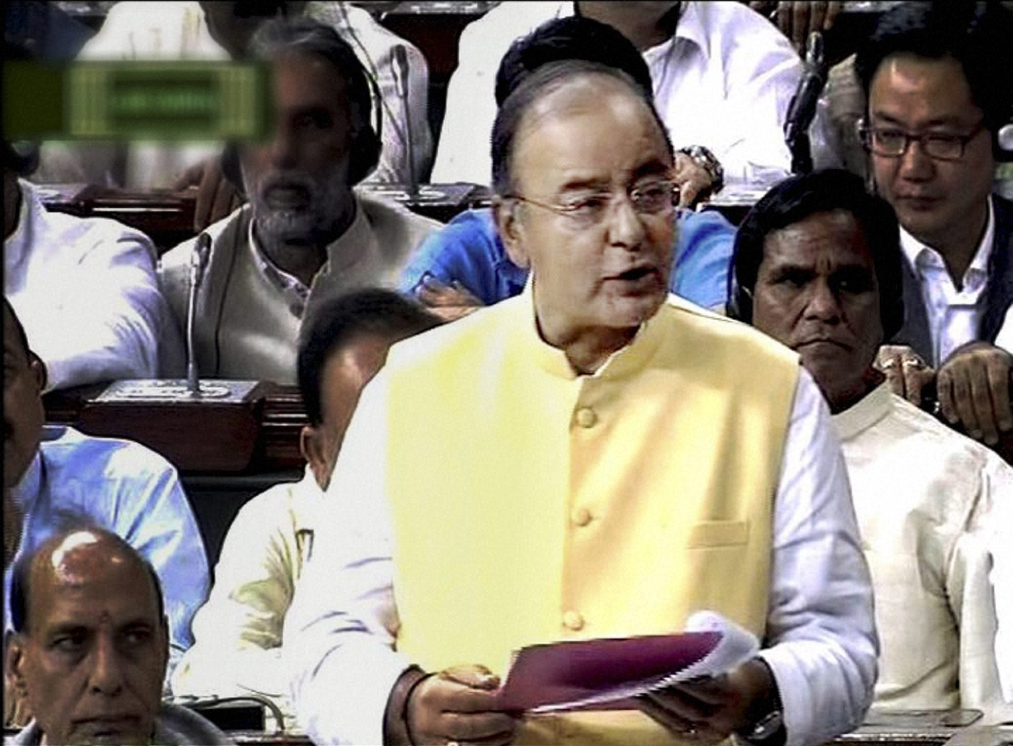 Finance Minister Arun Jaitley presenting the Union Budget 2014-15 in the Lok Sabha in New Delhi on Thursday. PTI Photo / TV GRAB