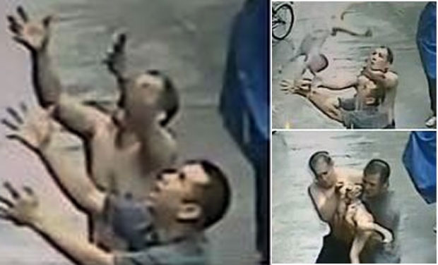 Watch chinese men catch falling baby from building for 2 year old falls out of window