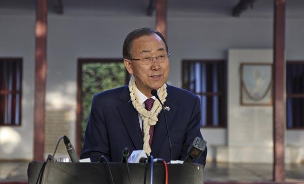 U.N. Secretary-General Ban Ki-moon addresses the media during his visit to the Sabarmati Ashram on Sunday. (Photo: PTI)