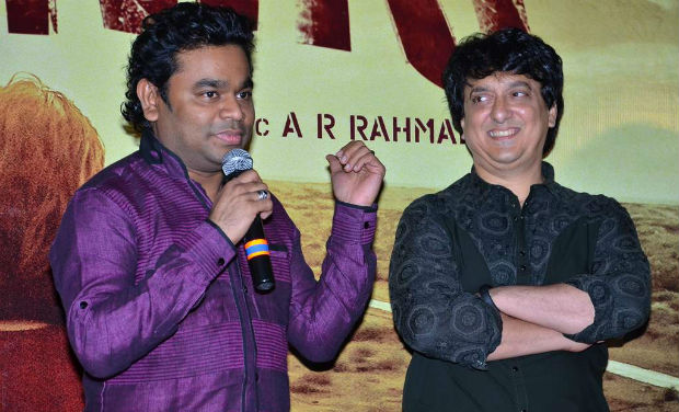 AR Rahman and Sajid Nadiadwala at the trailer launch of 'Highway'.