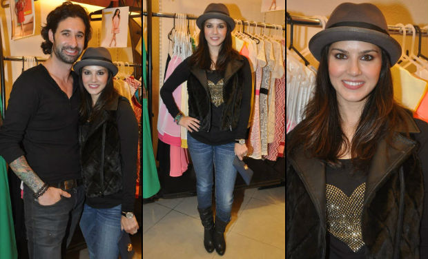 Sunny Leone at the Yellow Couture Store.