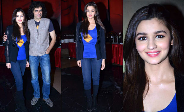 Imtiaz Ali and Alia Bhatt at the trailer launch of 'Highway'.