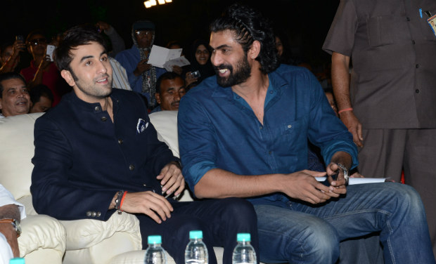 Ranbir Kapoor and Rana Daggubati chat during the inaugural function of 18th International Children's Film Festival of India at Lalitakalathoranam on Thursday.