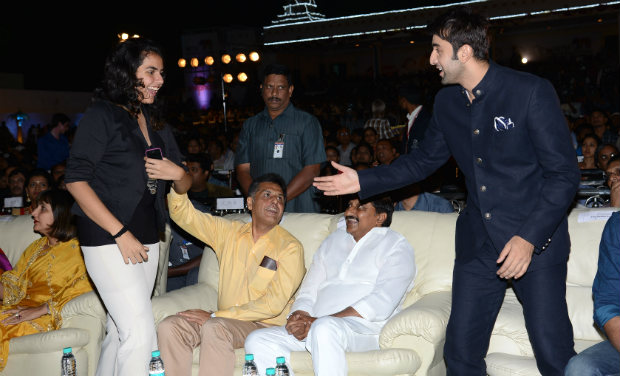 A fan is excited to meet Ranbir Kapoor during the inaugural function of 18th International Children's Film Festival of India.