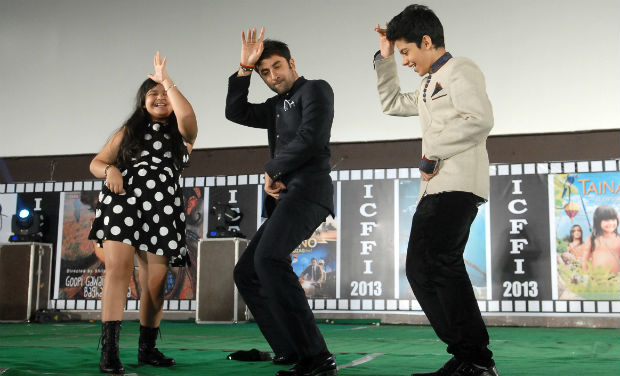 Ranbir Kapoor dances with child actors Saloni Daini and Darsheel Safary in the inaugural function of 18th International Children Film Festival.