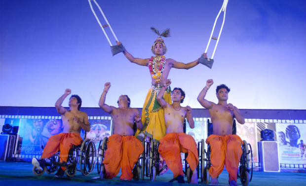Physically challenged children perform during the inaugural function of 18th International Children Film Festival.
