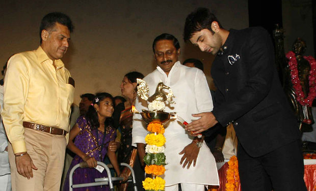 Ranbir Kapoor lights the ceremonial lamp during the inaugural function of 18th International Children's Film Festival.