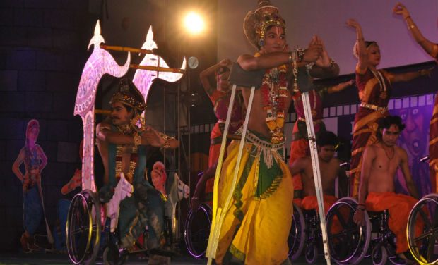 Disabled children perform at the inaugural function of 18th International Children's Film Festival of India.