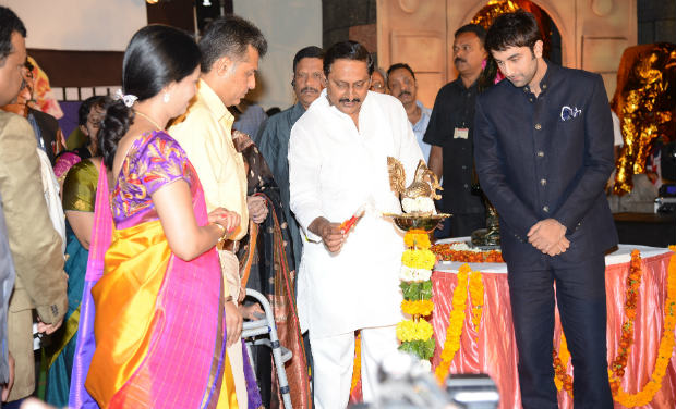 Union Minister of State Manish Tewari, Chief Minister Kiran Kumar Reddy, Ranbir Kapoor and Minister D K Aruna light the ceremonial lamp during the inaugural function of 18th International Children's Film Festival of India at Lalitakalathoranam on