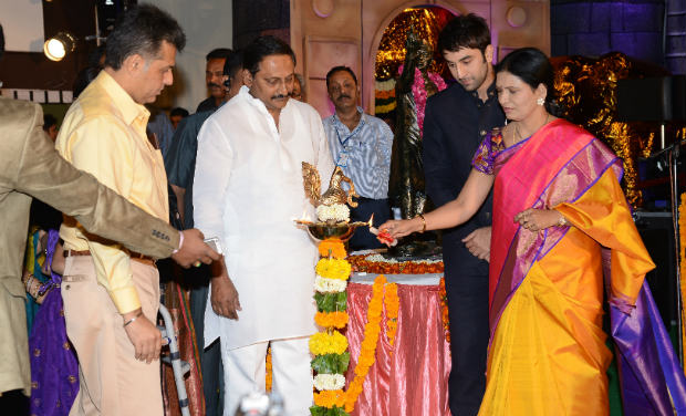 Manish Tewari, Kiran Kumar Reddy, Ranbir Kapoor and D K Aruna lighting the lamp during the inaugural function of 18th International Children's Film Festival of India at Lalitakalathoranam on Thursday.