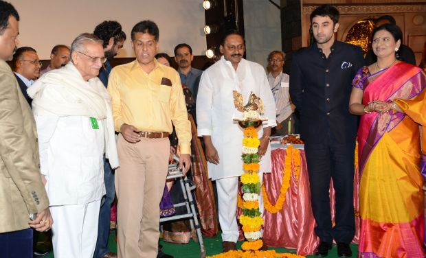 Gulzar, Manish Tewari, Kiran Kumar Reddy, Ranbir Kapoor and D K Aruna interact during the inaugural function of 18th International Children's Film Festival of India at Lalitakalathoranam on Thursday.