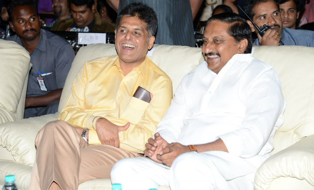 Manish Tewari and Kiran Kumar Reddy share a light moment during the inaugural function of 18th International Children's Film Festival of India at Lalitakalathoranam on Thursday.
