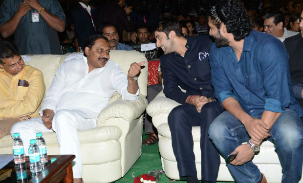 Manish Tewari, Kiran Kumar Reddy, Ranbir Kapoor and Rana Daggubati interact during the inaugural function of 18th International Children's Film Festival of India at Lalitakalathoranam on Thursday.