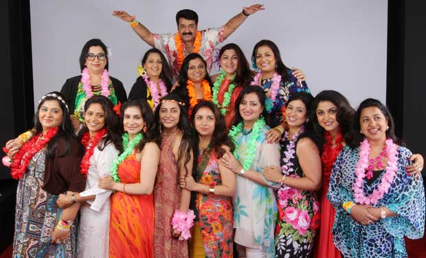 Mohanlal poses with the women