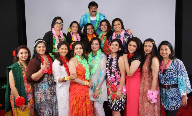 Chiranjeevi poses with the women
