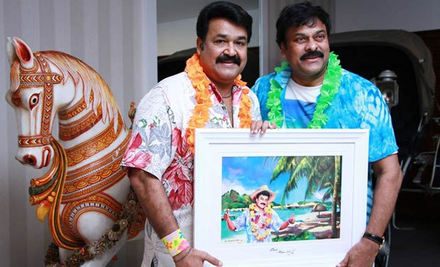 Malayalam Superstar Mohanlal with Telugu Superstar Chiranjeevi