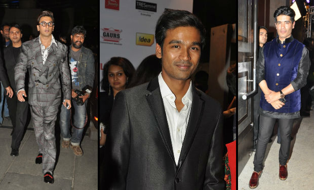 Ranveer Singh, Dhanush, Manish Malhotra at Filmfare Awards nomination bash.