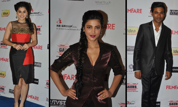 Taapsee Pannu, Shruti Hassan, Dhanush at Filmfare Awards nomination bash.