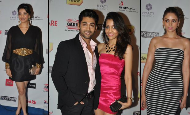 Kajjal Agarwal, Ruslaan Mumtaaz, Aditi Rao Hydari at Filmfare Awards nomination bash.