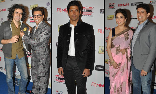 Imtiaz Ali, Ranveer Singh, Farhan Akhtar, Madhuri Dixit with her husband Sriram Madhav Nene at Filmfare Awards nomination bash.