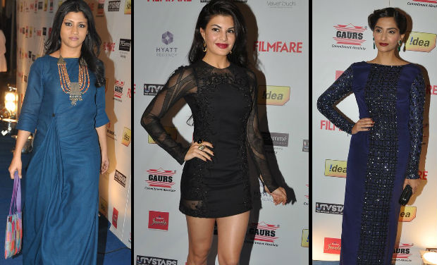 Konkona Sen Sharma, Jacqueline Fernandez, Sonam Kapoor at Filmfare Awards nomination bash.