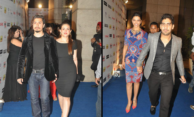 Ali Zafar, Deepika Padukone with Ayan Mukherji at Filmfare Awards nomination bash.