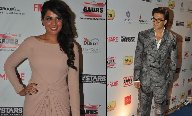 Richa Chadda was spotted with Ranveer Singh at Filmfare Awards nomination bash.