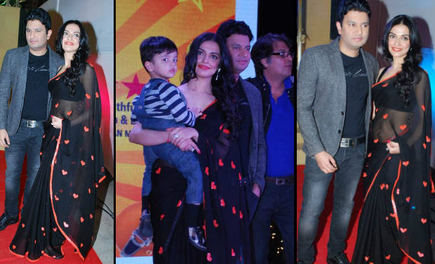 Divya Khosla Kumar was spotted with her son and husband, Bhusan Kumar, at 'Yaariyan' success party.
