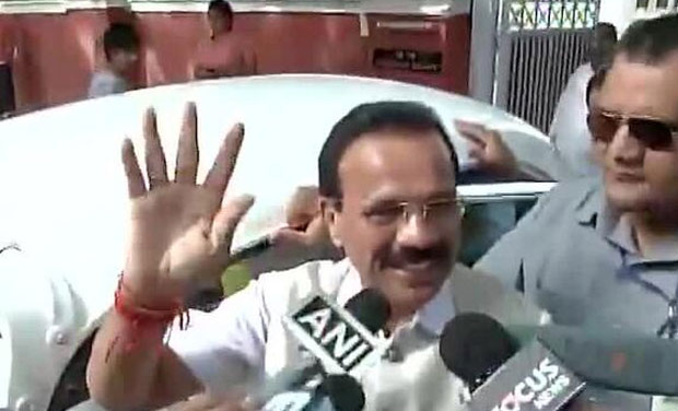 Railway minister Sadanand Gowda leaves to attend BJP parliamentary party meet. This is Modi government's first Rail Budget. (Photo: ANI Twitter)