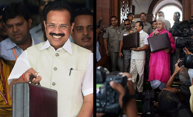 Rail minister Sadananda Gowda and MoS Manoj Sinha leave for parliament to present the Rail Budget (Photo: AP)