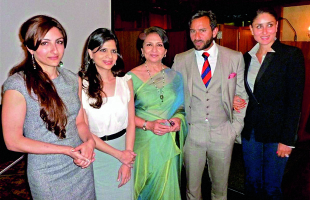 Sharmila Tagore with her family (from left) Soha Ali Khan, Saba Ali Khan, Saif Ali Khan and Kareena Kapoor (Photo: Deccan Chronicle)