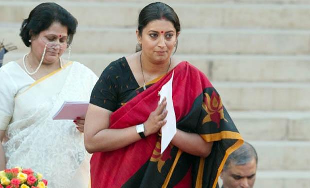 She has been given the charge of Ministry of Human Resource and Development. Seen here: Smriti swearing in as a cabinet minsiter.
