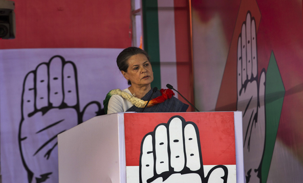 Congress party president Sonia Gandhi speaks at an election rally in New Delhi (Photo - AP)