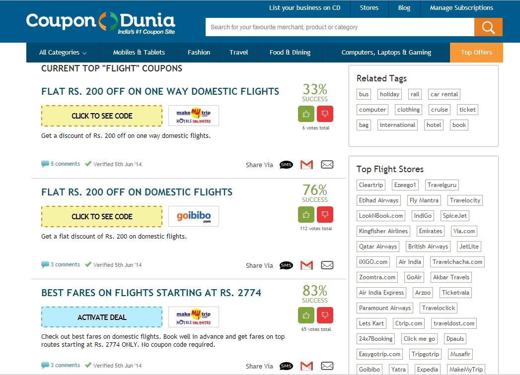 dionsnowmobilevalues.ml offers deep discounts up to 70% on airline tickets for daily flights. Sign up with your Facebook to become a member of the website and gain access to even more exclusive offers. Coupons are available online offering discounts and cheap fixed prices to popular destinations.