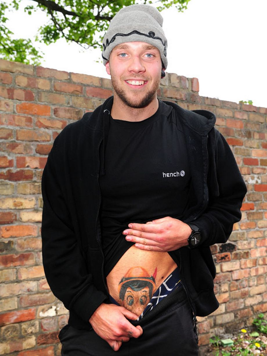 Private parts tattoo for men - Tom Washington Shows Off The Tattoo That Got Him Banned From The Flight Photo Credit H T Twitter Dailymail