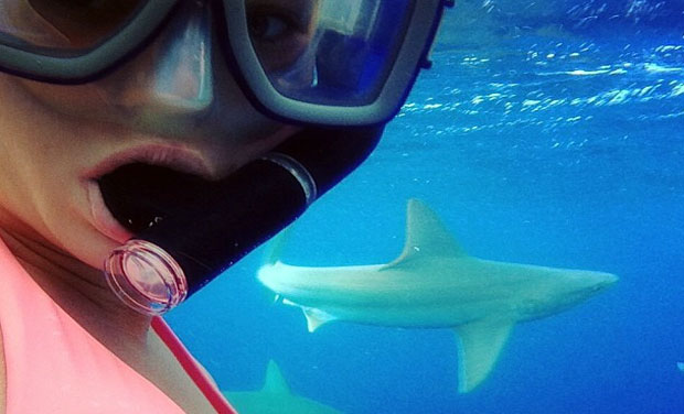 This girl wearing a pink bikini actually went into shark infested waters for her selfie.