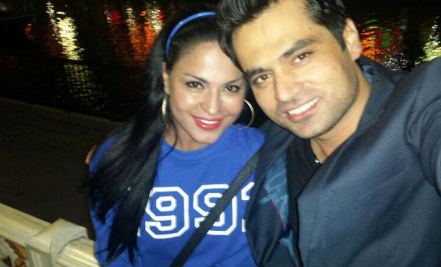 "Veena Malik with Asad Bashir Khan Khattak. She tweeted: ""I have found my Soul mate.... my Friend...my Partner!!! (Image source: Twitter)"